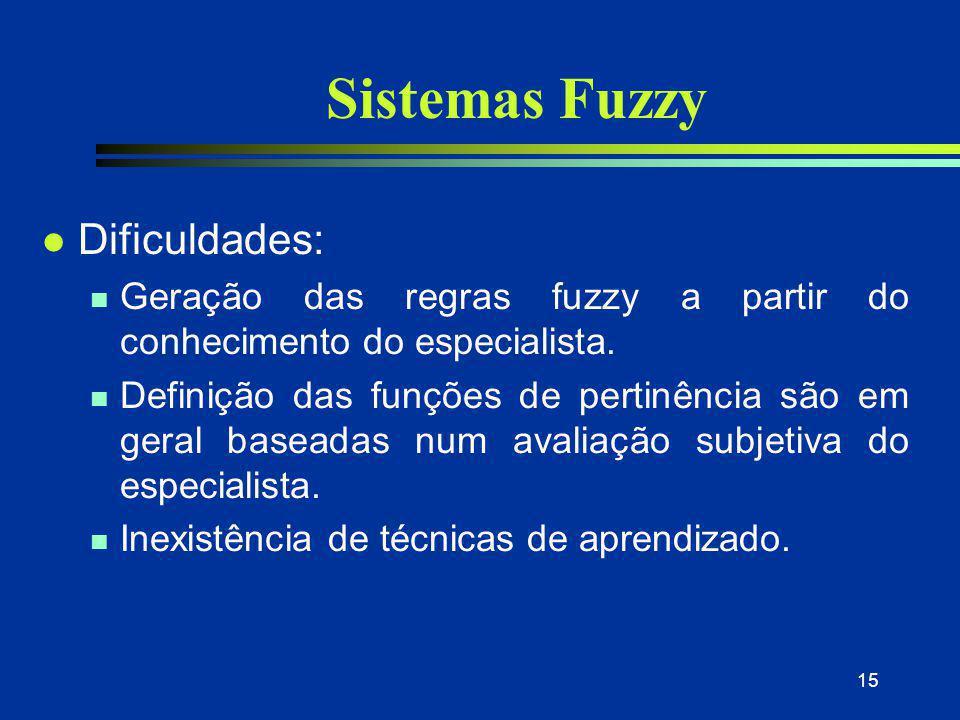 15 Sistemas Fuzzy l Dificuldades: n Geração das regras fuzzy a partir do conhecimento do especialista. n Definição das funções de pertinência são em g