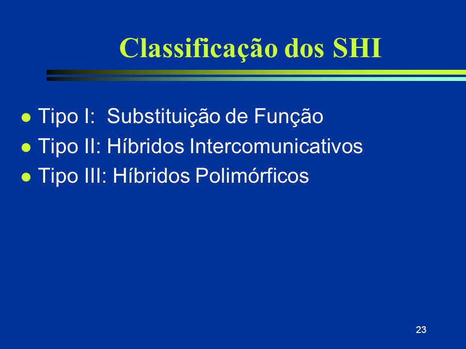 23 Classificação dos SHI l Tipo I: Substituição de Função l Tipo II: Híbridos Intercomunicativos l Tipo III: Híbridos Polimórficos