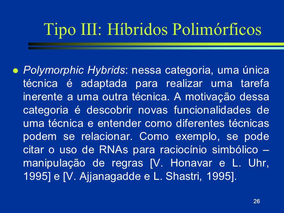 26 Tipo III: Híbridos Polimórficos l Polymorphic Hybrids: nessa categoria, uma única técnica é adaptada para realizar uma tarefa inerente a uma outra