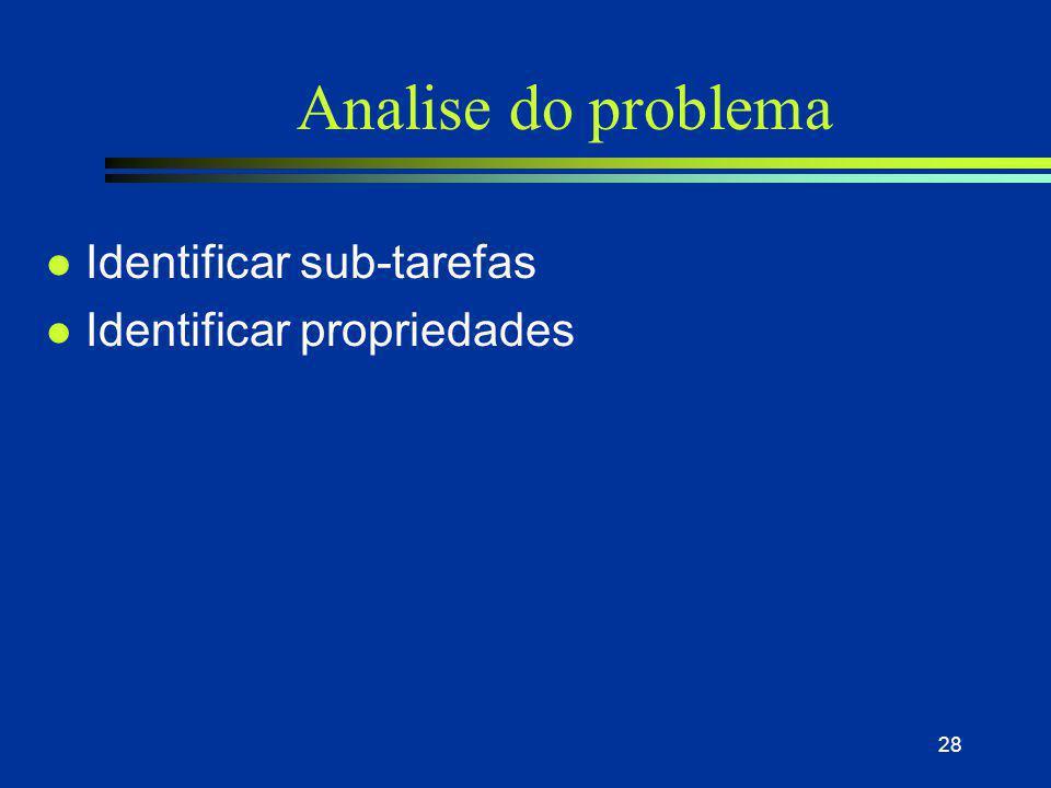 28 Analise do problema l Identificar sub-tarefas l Identificar propriedades