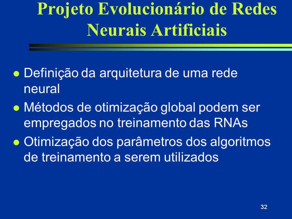 32 Projeto Evolucionário de Redes Neurais Artificiais l Definição da arquitetura de uma rede neural l Métodos de otimização global podem ser empregado