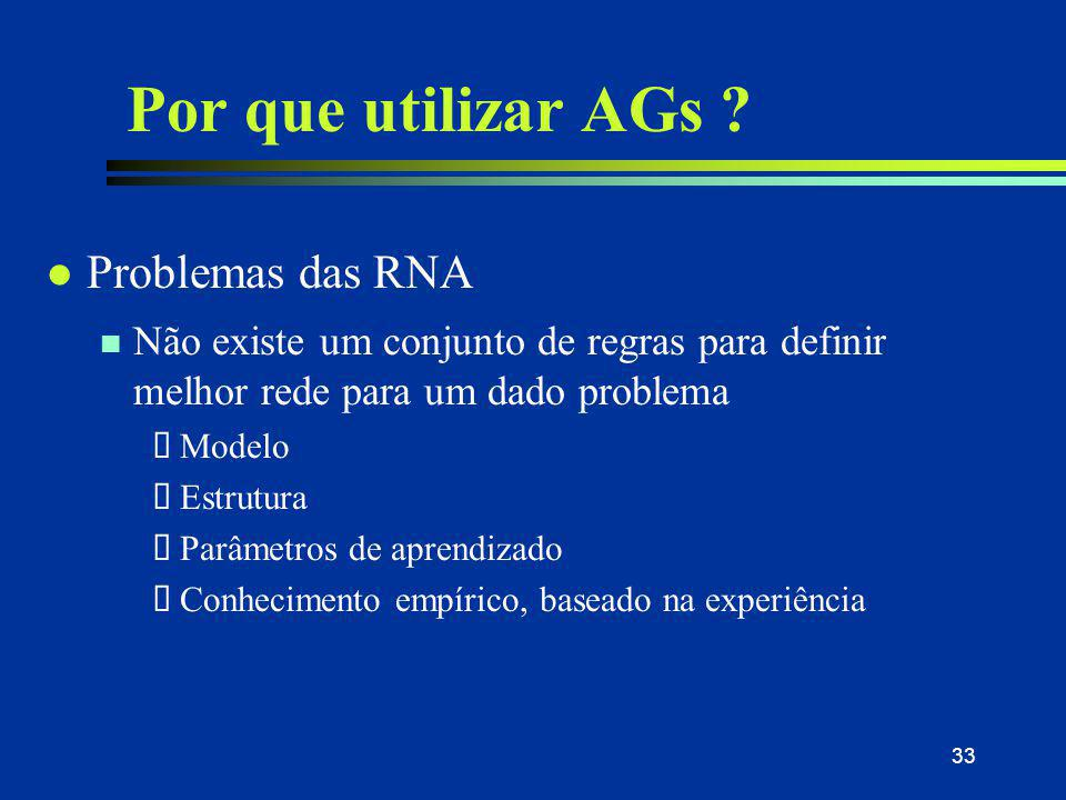 33 Por que utilizar AGs ? l Problemas das RNA n Não existe um conjunto de regras para definir melhor rede para um dado problema  Modelo  Estrutura 