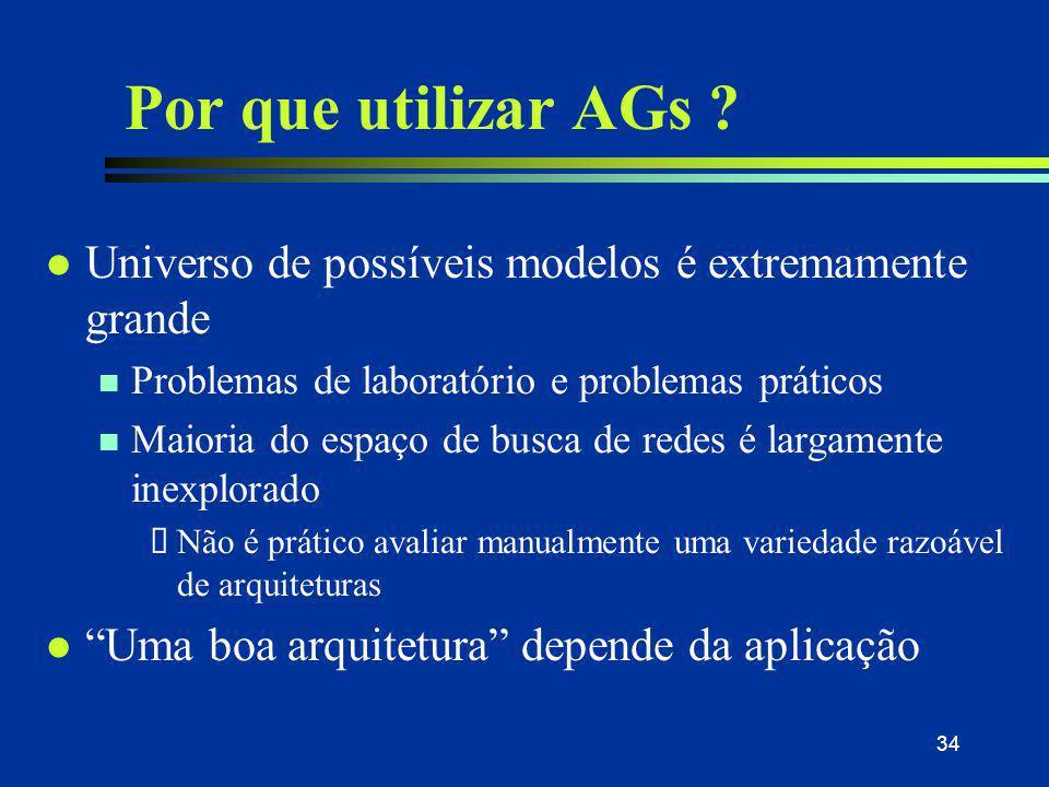 34 Por que utilizar AGs ? l Universo de possíveis modelos é extremamente grande n Problemas de laboratório e problemas práticos n Maioria do espaço de