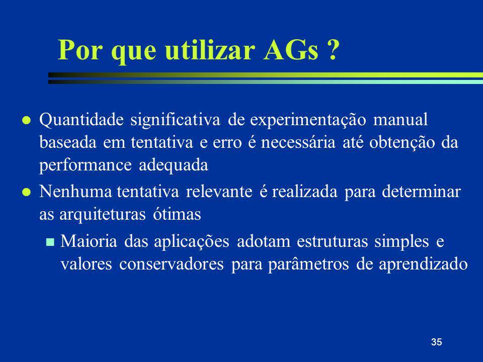 35 Por que utilizar AGs ? l Quantidade significativa de experimentação manual baseada em tentativa e erro é necessária até obtenção da performance ade
