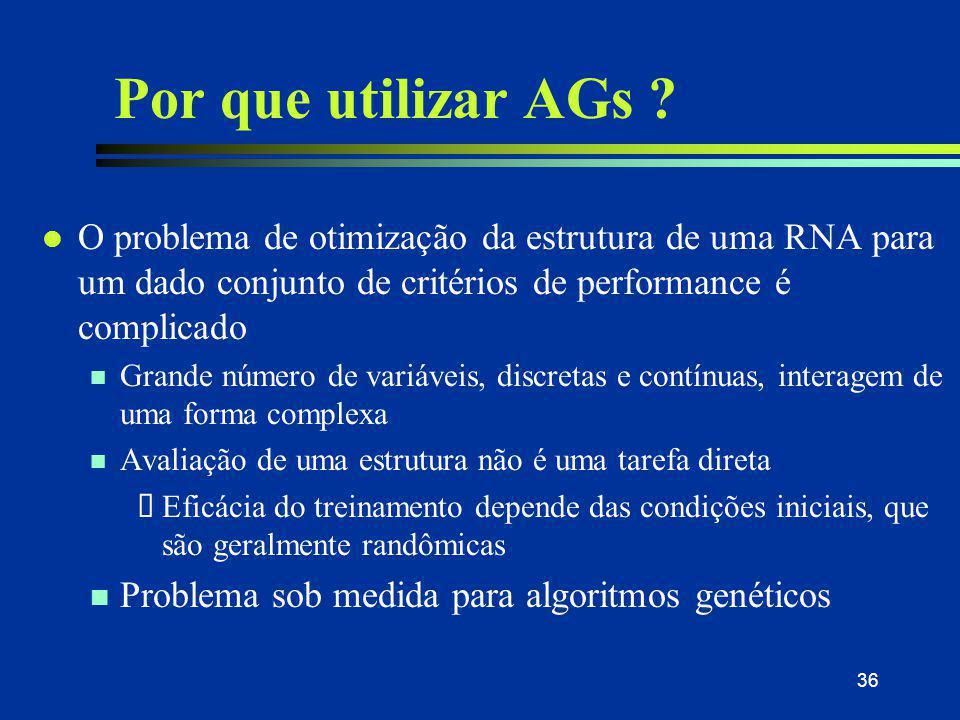 36 Por que utilizar AGs ? l O problema de otimização da estrutura de uma RNA para um dado conjunto de critérios de performance é complicado n Grande n