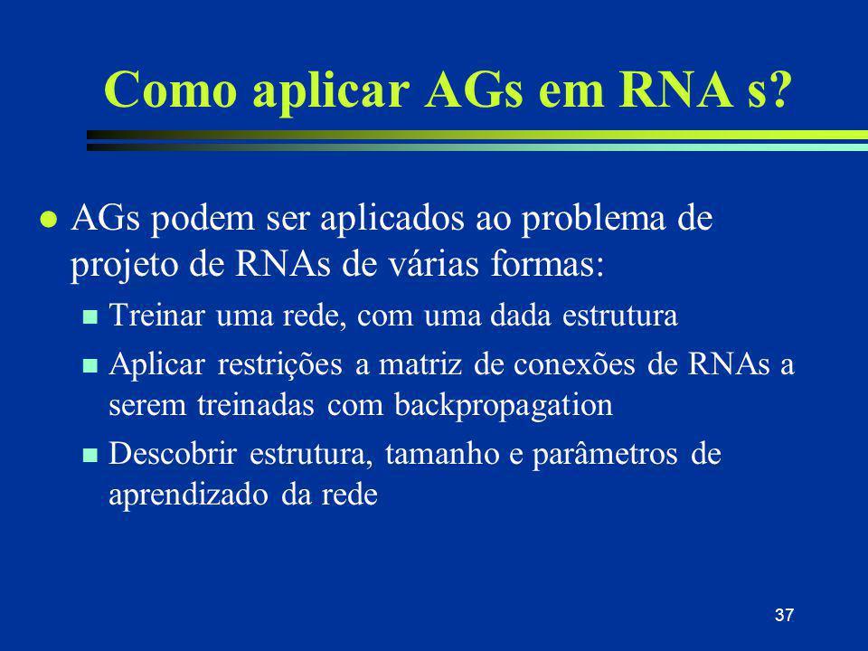 37 Como aplicar AGs em RNA s? l AGs podem ser aplicados ao problema de projeto de RNAs de várias formas: n Treinar uma rede, com uma dada estrutura n