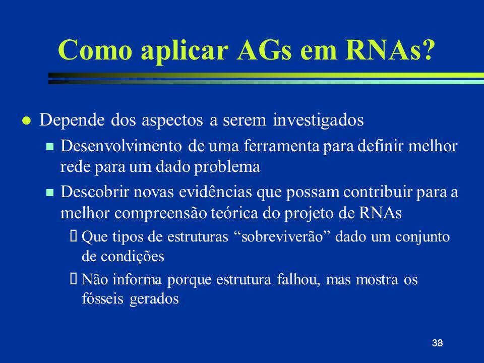 38 Como aplicar AGs em RNAs? l Depende dos aspectos a serem investigados n Desenvolvimento de uma ferramenta para definir melhor rede para um dado pro
