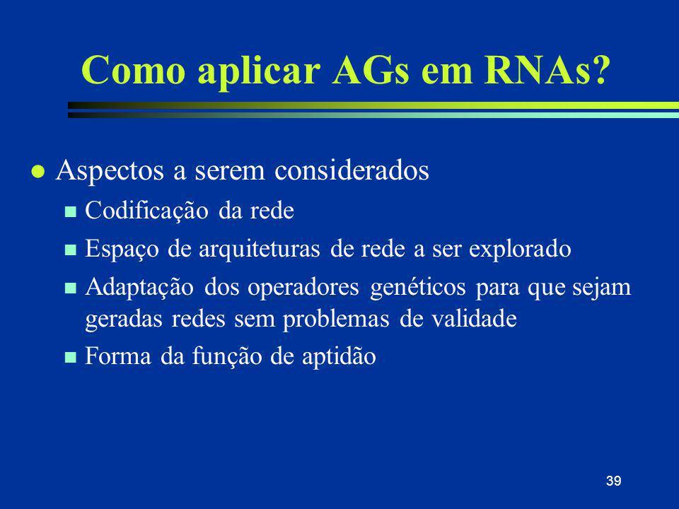 39 Como aplicar AGs em RNAs? l Aspectos a serem considerados n Codificação da rede n Espaço de arquiteturas de rede a ser explorado n Adaptação dos op