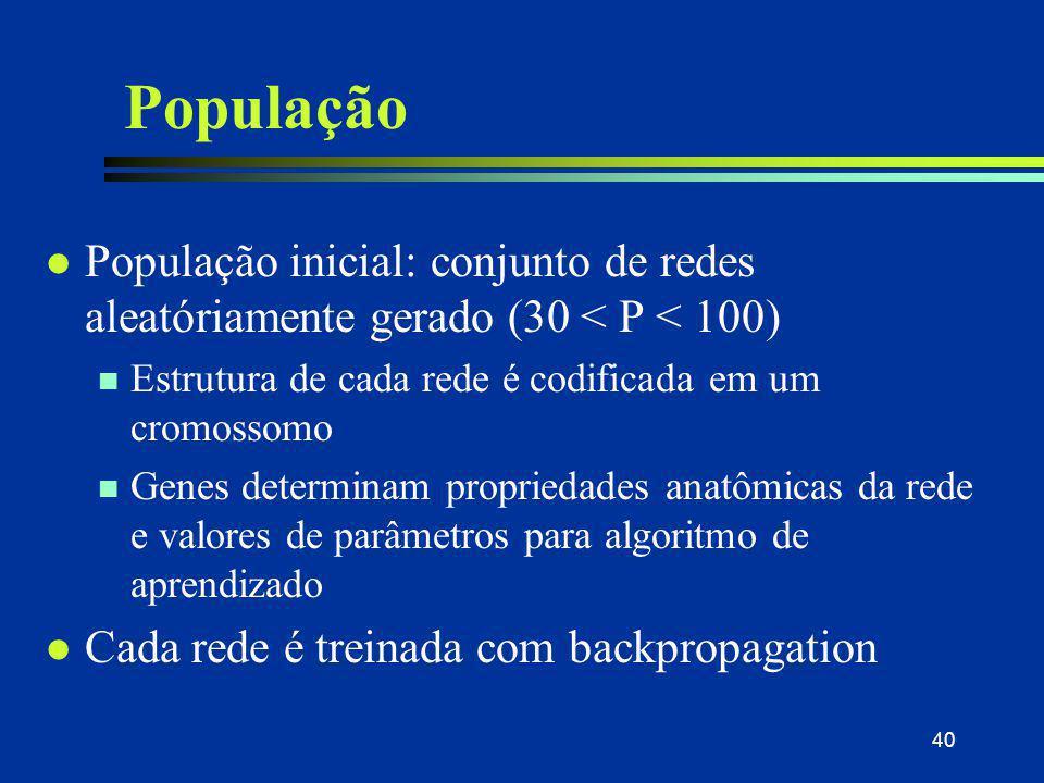 40 População l População inicial: conjunto de redes aleatóriamente gerado (30 < P < 100) n Estrutura de cada rede é codificada em um cromossomo n Gene