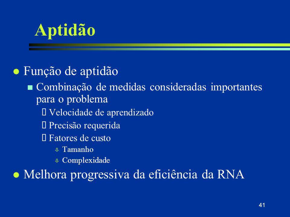 41 Aptidão l Função de aptidão n Combinação de medidas consideradas importantes para o problema  Velocidade de aprendizado  Precisão requerida  Fat