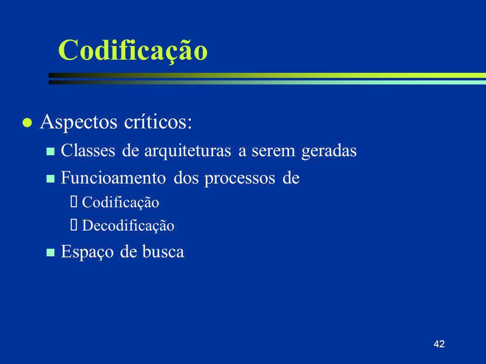 42 Codificação l Aspectos críticos: n Classes de arquiteturas a serem geradas n Funcioamento dos processos de  Codificação  Decodificação n Espaço d