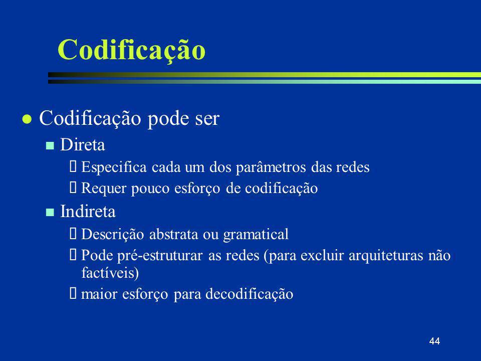 44 Codificação l Codificação pode ser n Direta  Especifica cada um dos parâmetros das redes  Requer pouco esforço de codificação n Indireta  Descri
