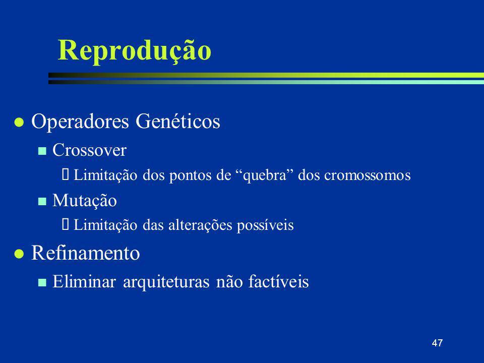 """47 Reprodução l Operadores Genéticos n Crossover  Limitação dos pontos de """"quebra"""" dos cromossomos n Mutação  Limitação das alterações possíveis l R"""