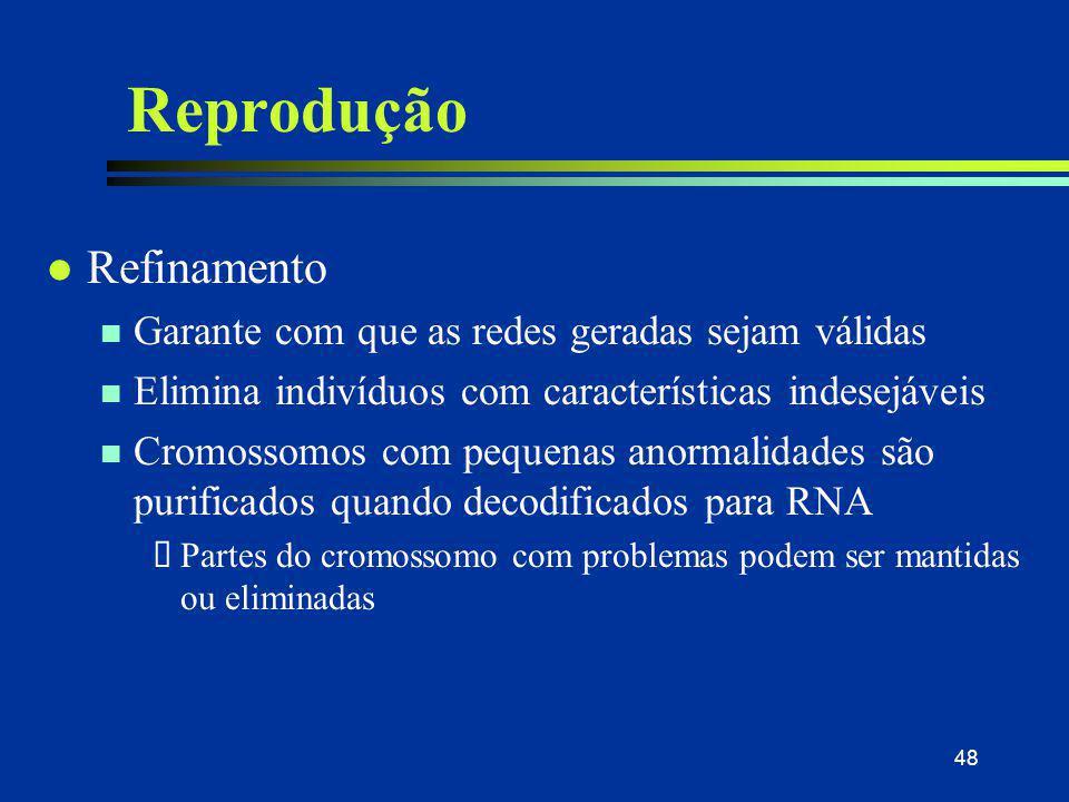48 Reprodução l Refinamento n Garante com que as redes geradas sejam válidas n Elimina indivíduos com características indesejáveis n Cromossomos com p