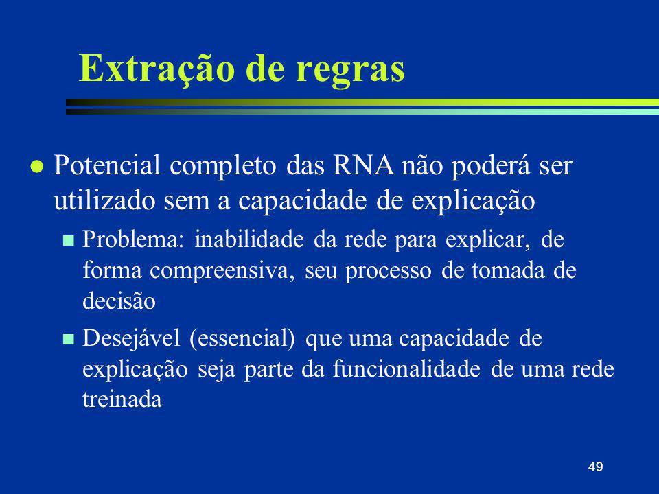 49 Extração de regras l Potencial completo das RNA não poderá ser utilizado sem a capacidade de explicação n Problema: inabilidade da rede para explic