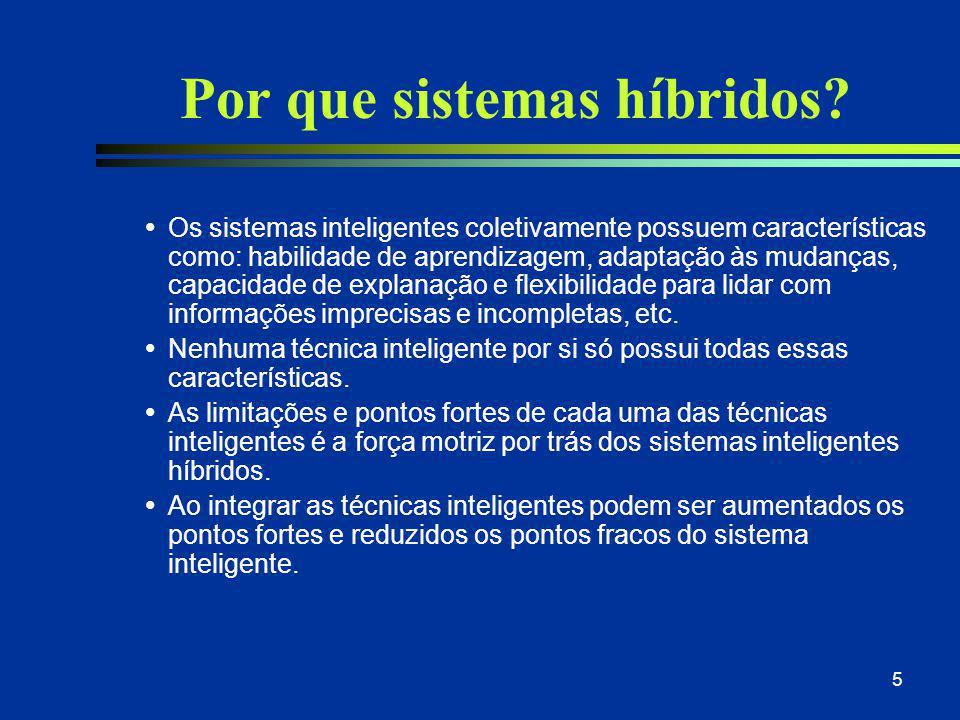 5 Por que sistemas híbridos?  Os sistemas inteligentes coletivamente possuem características como: habilidade de aprendizagem, adaptação às mudanças,