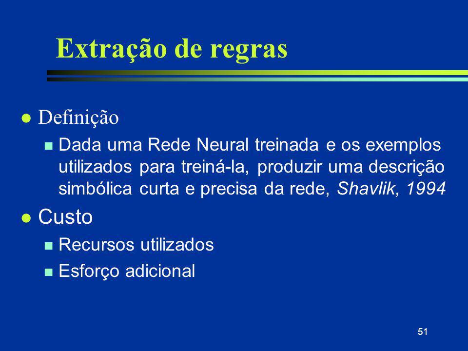 51 Extração de regras l Definição n Dada uma Rede Neural treinada e os exemplos utilizados para treiná-la, produzir uma descrição simbólica curta e pr