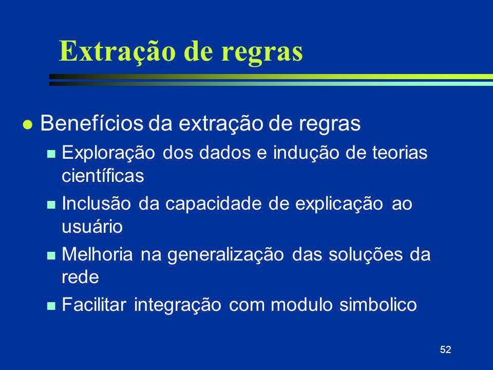 52 Extração de regras l Benefícios da extração de regras n Exploração dos dados e indução de teorias científicas n Inclusão da capacidade de explicaçã