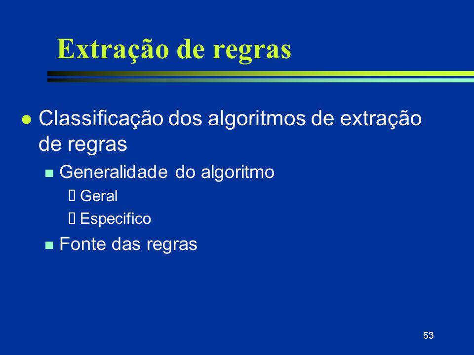 53 Extração de regras l Classificação dos algoritmos de extração de regras n Generalidade do algoritmo  Geral  Especifico n Fonte das regras