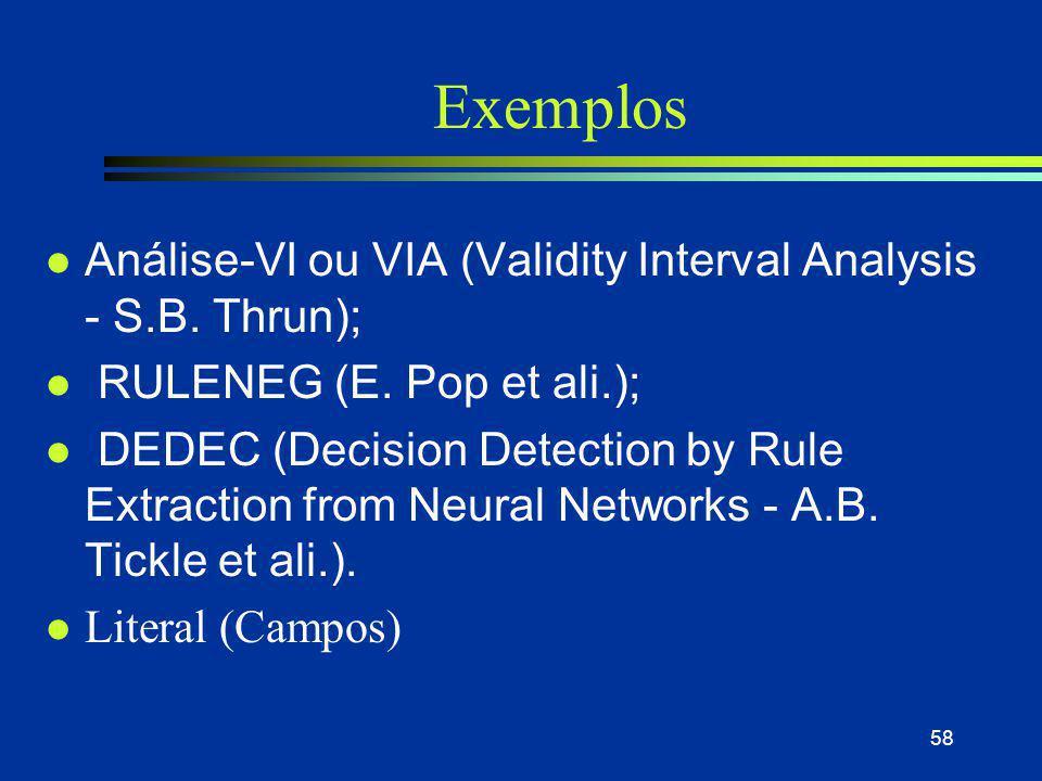 58 Exemplos l Análise-VI ou VIA (Validity Interval Analysis - S.B. Thrun); l RULENEG (E. Pop et ali.); l DEDEC (Decision Detection by Rule Extraction