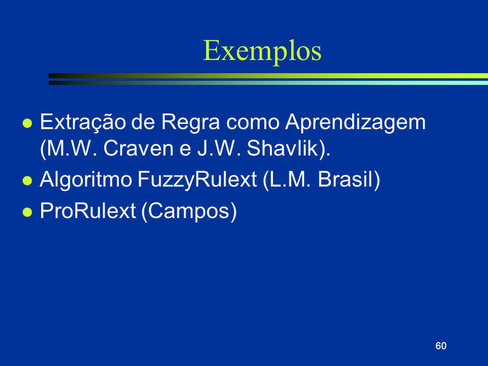 60 Exemplos l Extração de Regra como Aprendizagem (M.W. Craven e J.W. Shavlik). l Algoritmo FuzzyRulext (L.M. Brasil) l ProRulext (Campos)