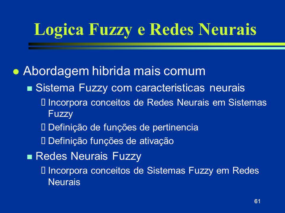 61 Logica Fuzzy e Redes Neurais l Abordagem hibrida mais comum n Sistema Fuzzy com caracteristicas neurais  Incorpora conceitos de Redes Neurais em S