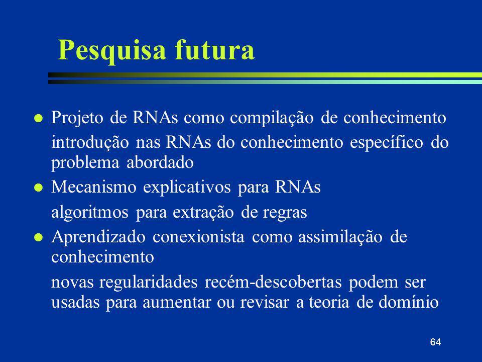 64 Pesquisa futura l Projeto de RNAs como compilação de conhecimento introdução nas RNAs do conhecimento específico do problema abordado l Mecanismo e