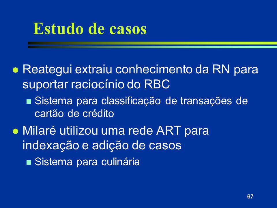 67 Estudo de casos l Reategui extraiu conhecimento da RN para suportar raciocínio do RBC n Sistema para classificação de transações de cartão de crédi
