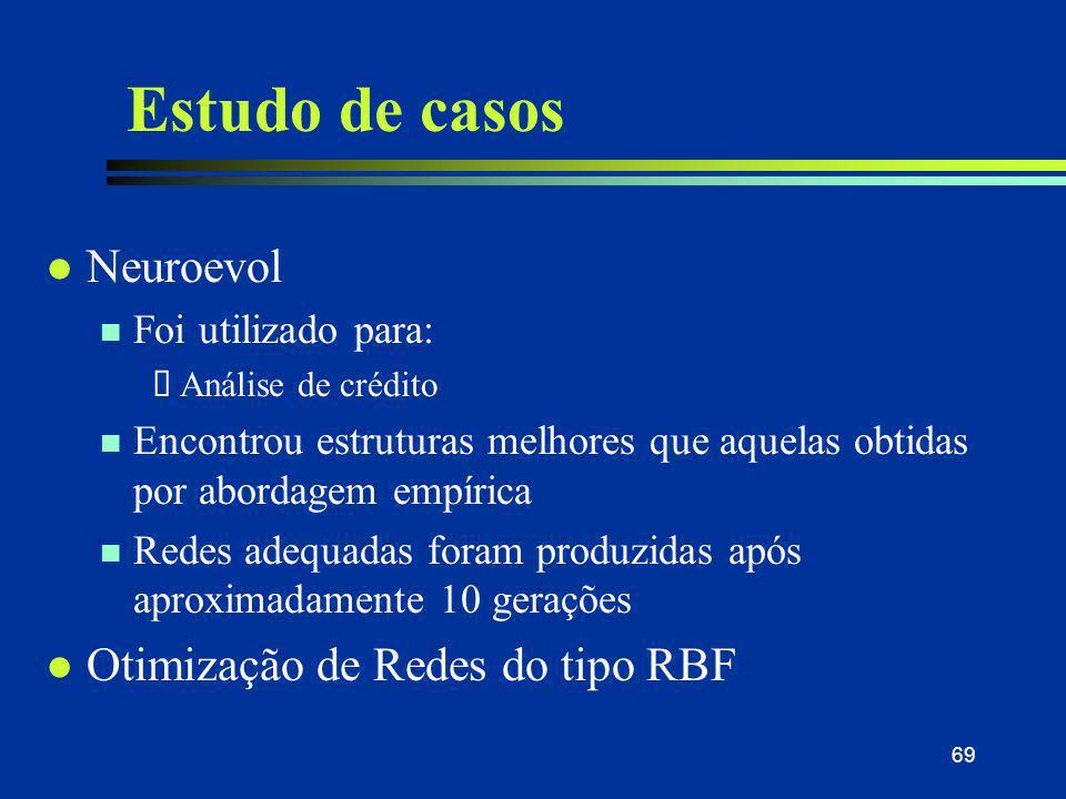 69 Estudo de casos l Neuroevol n Foi utilizado para:  Análise de crédito n Encontrou estruturas melhores que aquelas obtidas por abordagem empírica n
