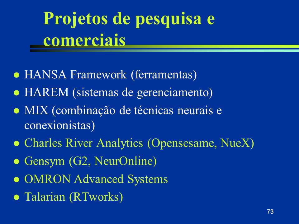 73 Projetos de pesquisa e comerciais l HANSA Framework (ferramentas) l HAREM (sistemas de gerenciamento) l MIX (combinação de técnicas neurais e conex