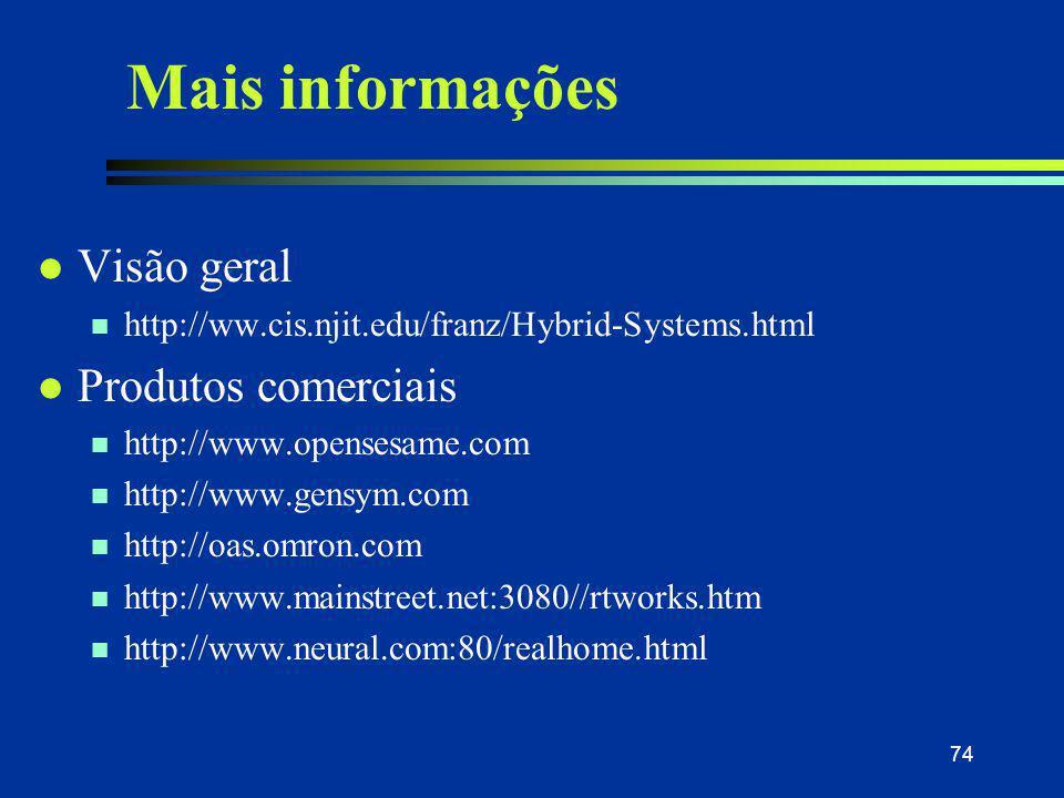 74 Mais informações l Visão geral n http://ww.cis.njit.edu/franz/Hybrid-Systems.html l Produtos comerciais n http://www.opensesame.com n http://www.ge