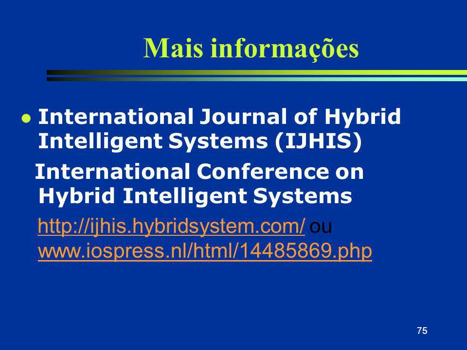 75 Mais informações l International Journal of Hybrid Intelligent Systems (IJHIS) International Conference on Hybrid Intelligent Systems http://ijhis.