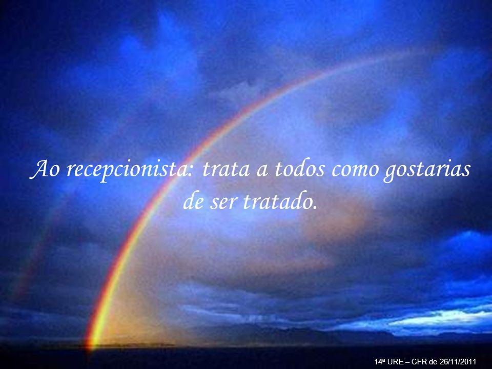 Ao evangelizador: o verdadeiro mestre procura aplicar a si mesmo as lições que ministra. 14ª URE – CFR de 26/11/2011