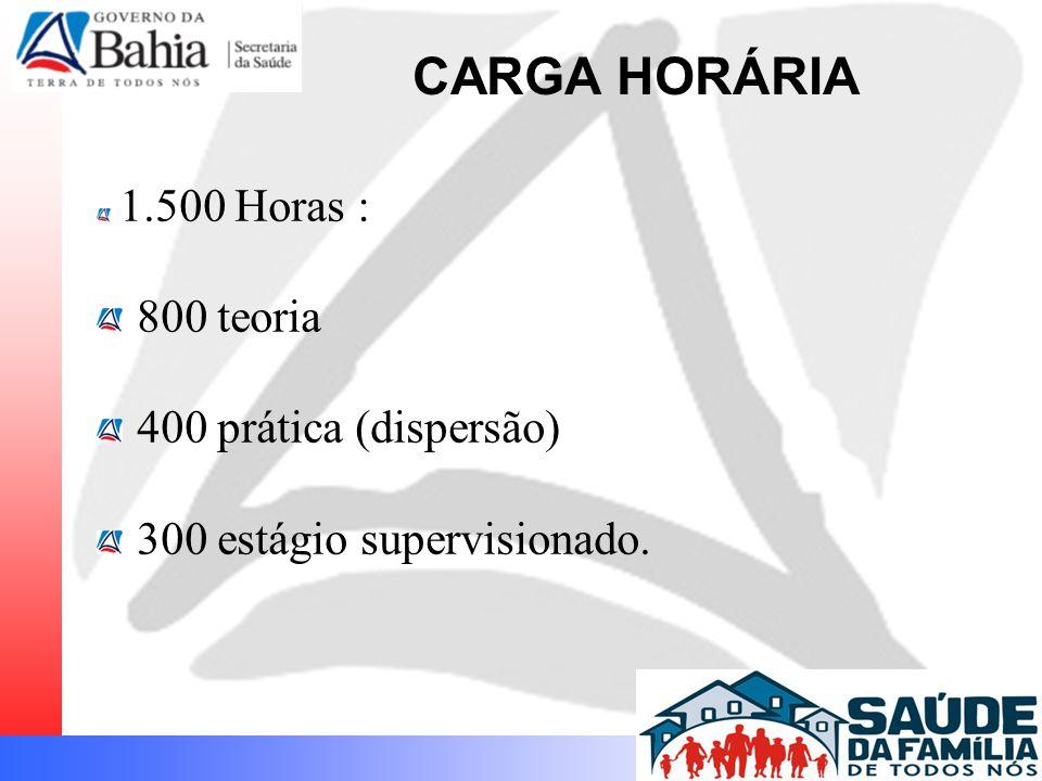 1.500 Horas : 800 teoria 400 prática (dispersão) 300 estágio supervisionado. CARGA HORÁRIA