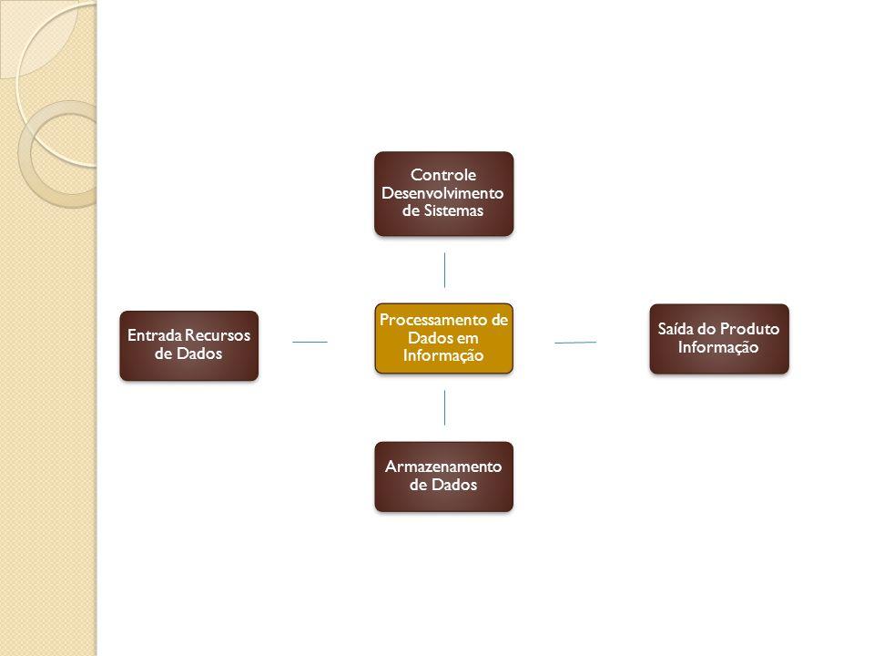 Entrada Recursos de Dados Controle Desenvolvimento de Sistemas Armazenamento de Dados Processamento de Dados em Informação Saída do Produto Informação