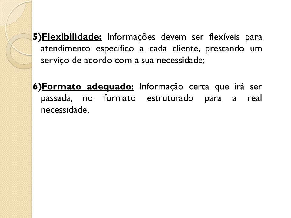 5)Flexibilidade: Informações devem ser flexíveis para atendimento específico a cada cliente, prestando um serviço de acordo com a sua necessidade; 6)Formato adequado: Informação certa que irá ser passada, no formato estruturado para a real necessidade.