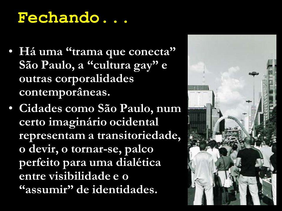 """Fechando... Há uma """"trama que conecta"""" São Paulo, a """"cultura gay"""" e outras corporalidades contemporâneas. Cidades como São Paulo, num certo imaginário"""