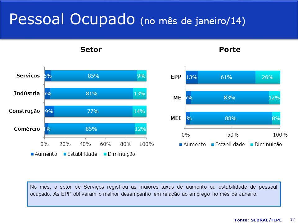 Pessoal Ocupado (no mês de janeiro/14) SetorPorte No mês, o setor de Serviços registrou as maiores taxas de aumento ou estabilidade de pessoal ocupado