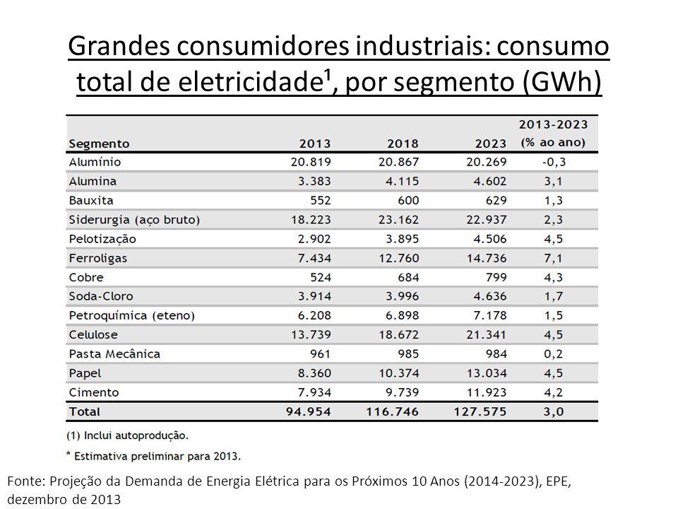 Grandes consumidores industriais – Consumo total de eletricidade¹, por subsistema (GWh) Fonte: Projeção da Demanda de Energia Elétrica para os Próximos 10 Anos (2014-2023), EPE, dezembro de 2013