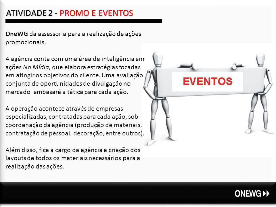 ATIVIDADE 2 - PROMO E EVENTOS OneWG dá assessoria para a realização de ações promocionais.