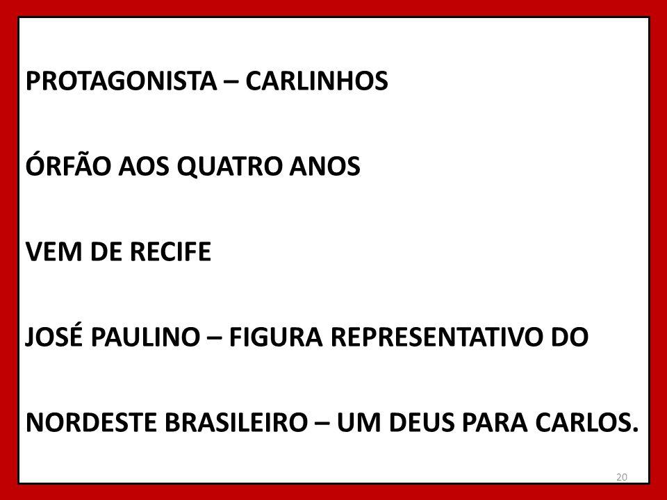 PROTAGONISTA – CARLINHOS ÓRFÃO AOS QUATRO ANOS VEM DE RECIFE JOSÉ PAULINO – FIGURA REPRESENTATIVO DO NORDESTE BRASILEIRO – UM DEUS PARA CARLOS. 20
