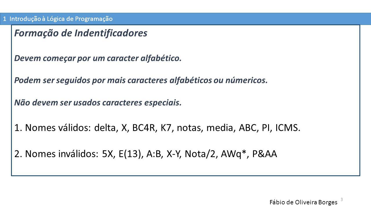 1 Introdução à Lógica de Programação Fábio de Oliveira Borges 3 Formação de Indentificadores Devem começar por um caracter alfabético. Podem ser segui