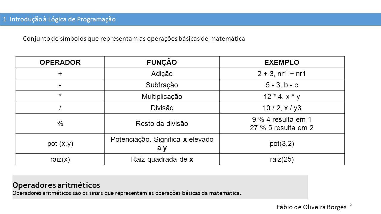 1 Introdução à Lógica de Programação Fábio de Oliveira Borges 5 Conjunto de símbolos que representam as operações básicas de matemática OPERADORFUNÇÃO