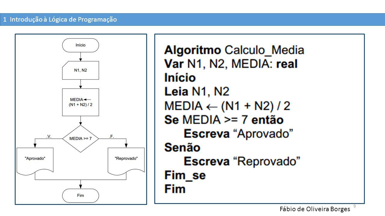 1 Introdução à Lógica de Programação Fábio de Oliveira Borges 9