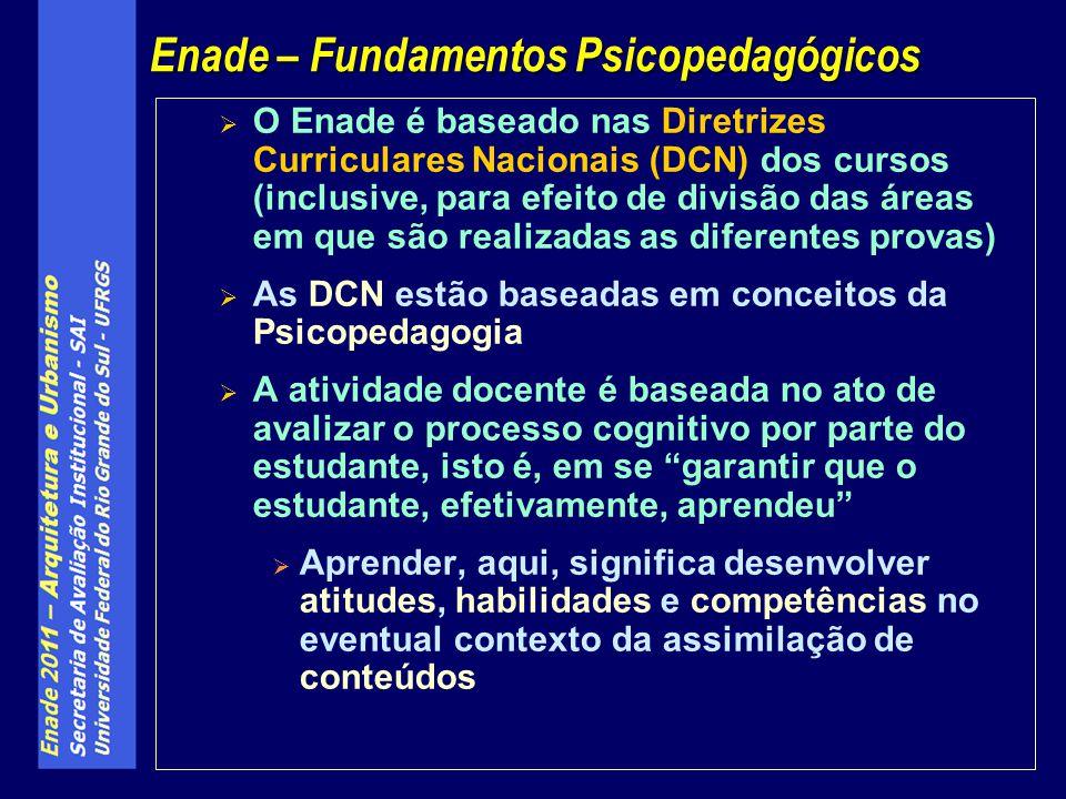  O Enade é baseado nas Diretrizes Curriculares Nacionais (DCN) dos cursos (inclusive, para efeito de divisão das áreas em que são realizadas as difer