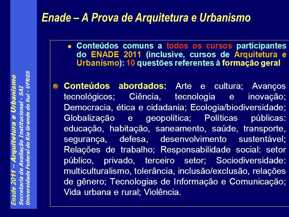 Conteúdos comuns a todos os cursos participantes do ENADE 2011 (inclusive, cursos de Arquitetura e Urbanismo): 10 questões referentes à formação geral