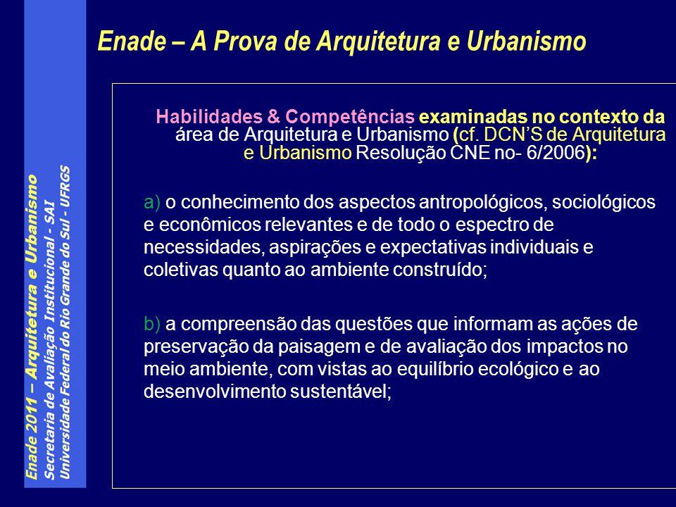 Habilidades & Competências examinadas no contexto da área de Arquitetura e Urbanismo (cf.