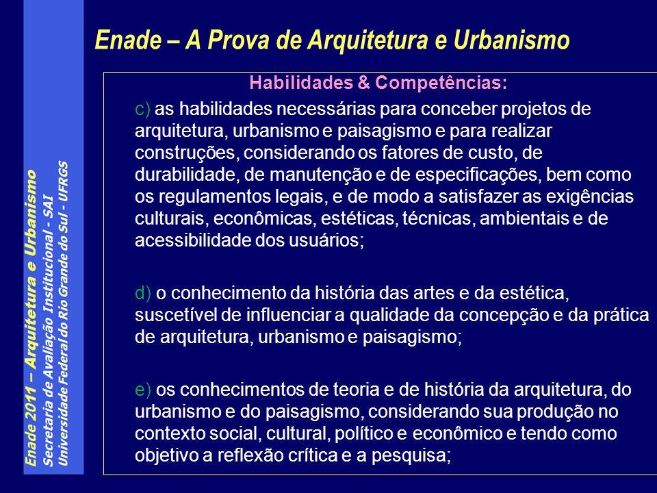Habilidades & Competências: c) as habilidades necessárias para conceber projetos de arquitetura, urbanismo e paisagismo e para realizar construções, c