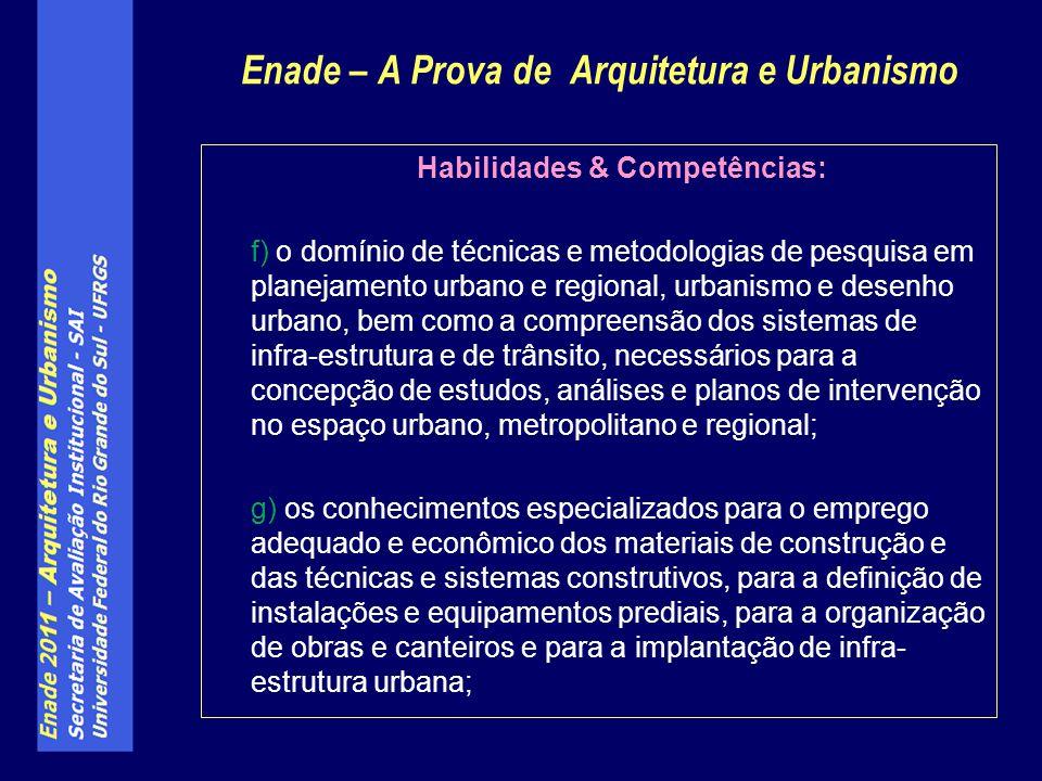 Habilidades & Competências: f) o domínio de técnicas e metodologias de pesquisa em planejamento urbano e regional, urbanismo e desenho urbano, bem com