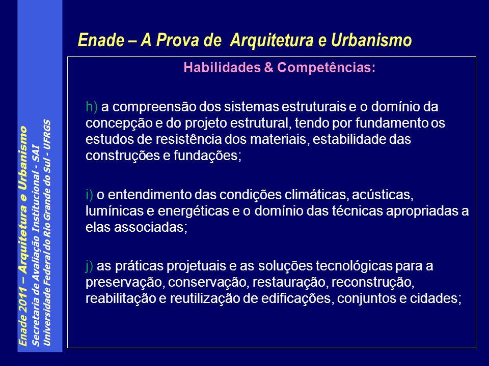 Habilidades & Competências: h) a compreensão dos sistemas estruturais e o domínio da concepção e do projeto estrutural, tendo por fundamento os estudo